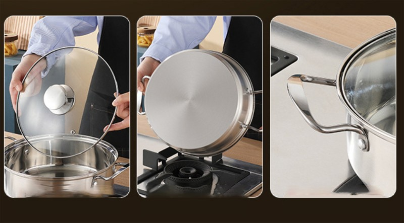 stainless steel pot  sets with glass lids a003 4